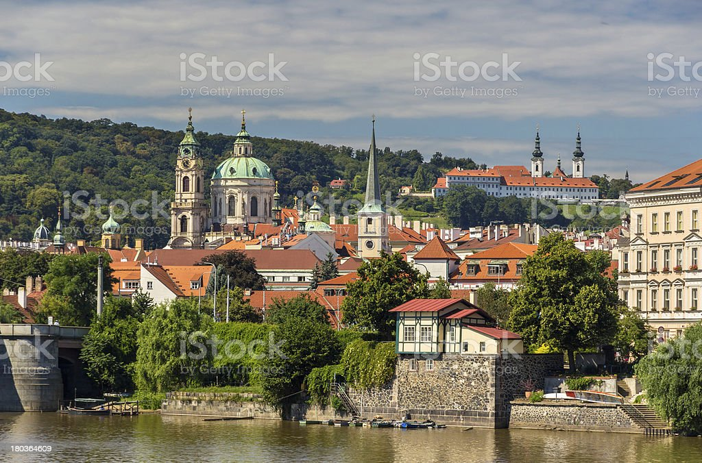 View St. Nicholas Church and Strahov Monastery in Prague royalty-free stock photo