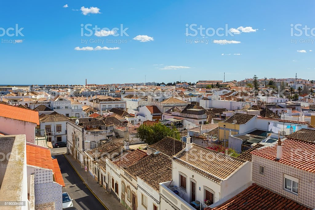 View streetscape Tavira. stock photo