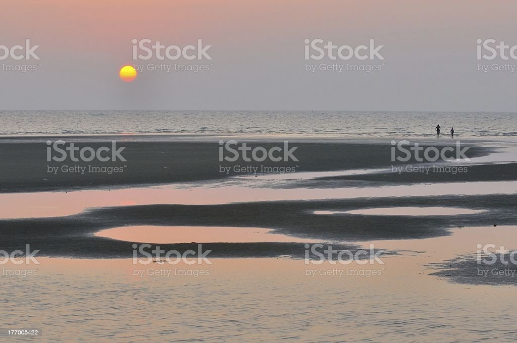 View sunset at the seaside stock photo