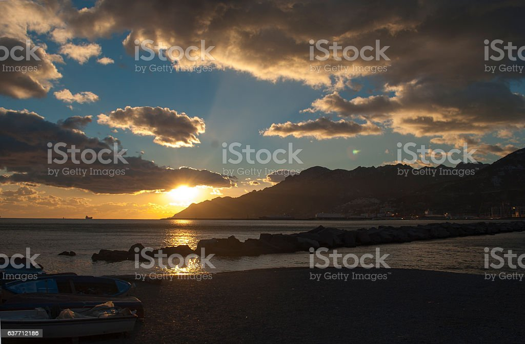 View sunset in Salerno city stock photo