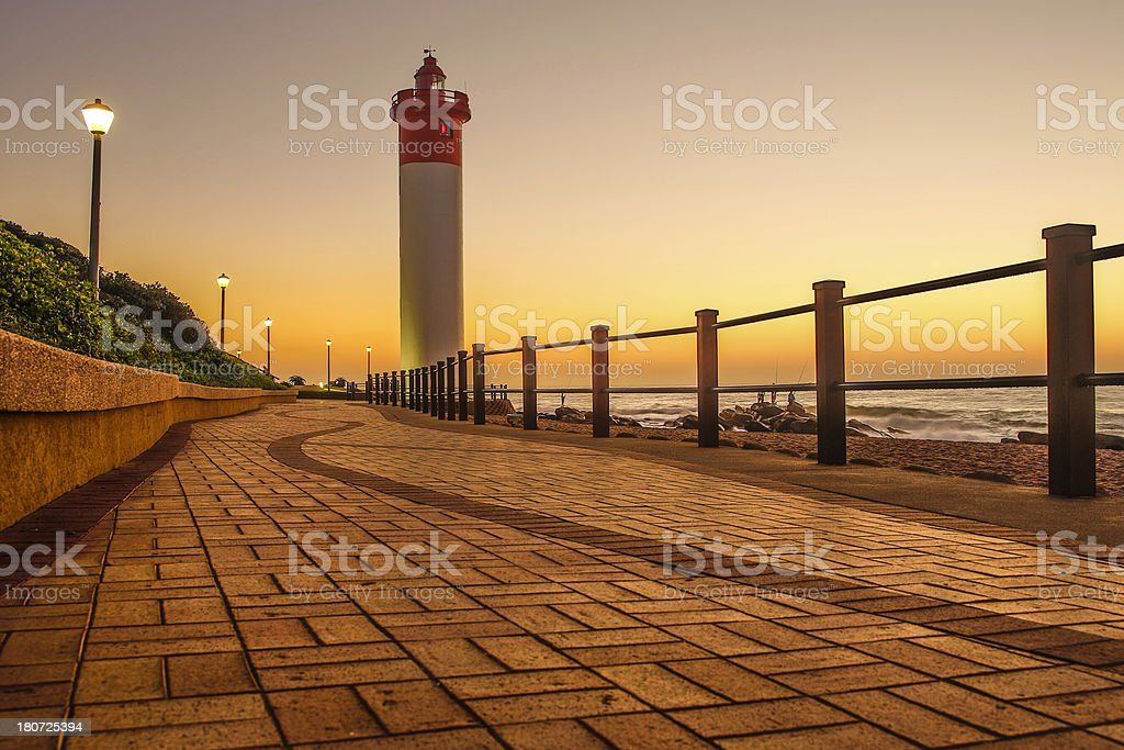 View the sunset at the Umhlanga Rocks Lighthouse stock photo