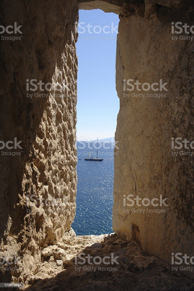 View through a castle window royalty-free stock photo