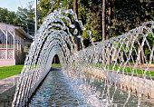 View through a decorative fountain