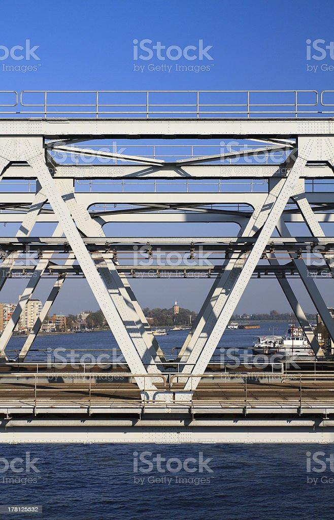 View through a steel railway bridge stock photo