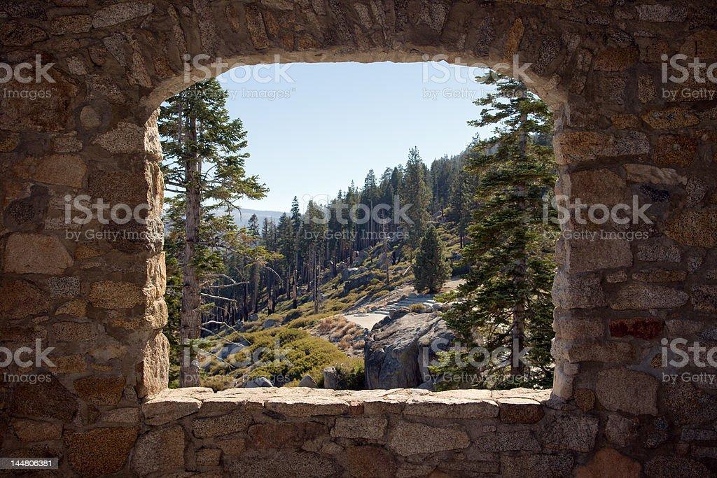 View Through a Stone Window royalty-free stock photo