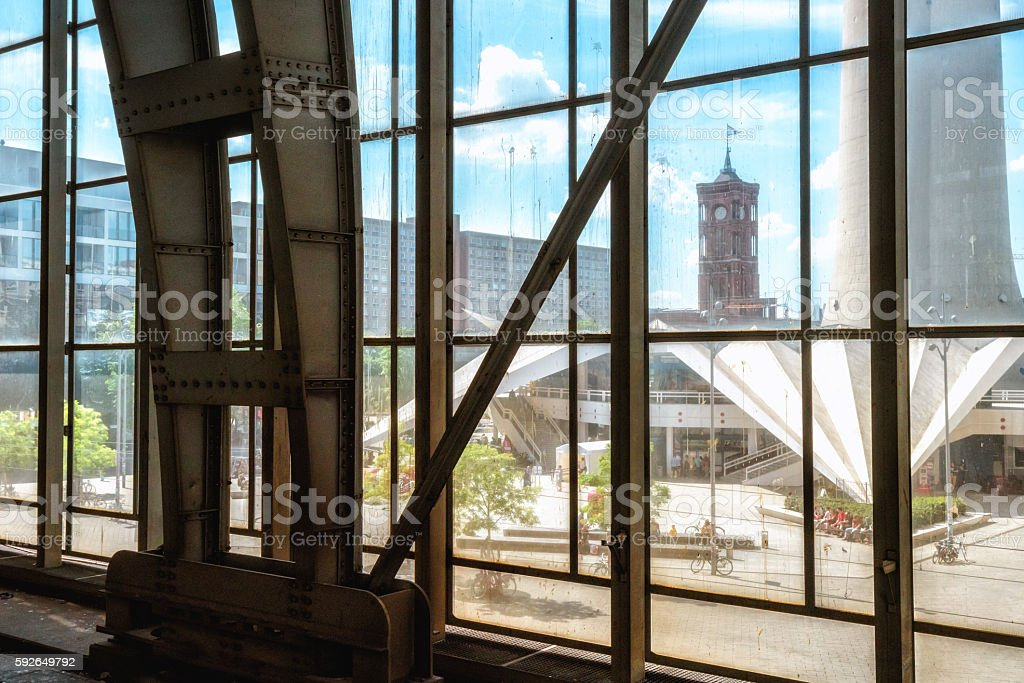 View through a window, Town hall and Television Tower, Berlin stock photo