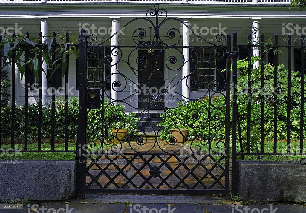 View Through a Wrought Iron Gate royalty-free stock photo