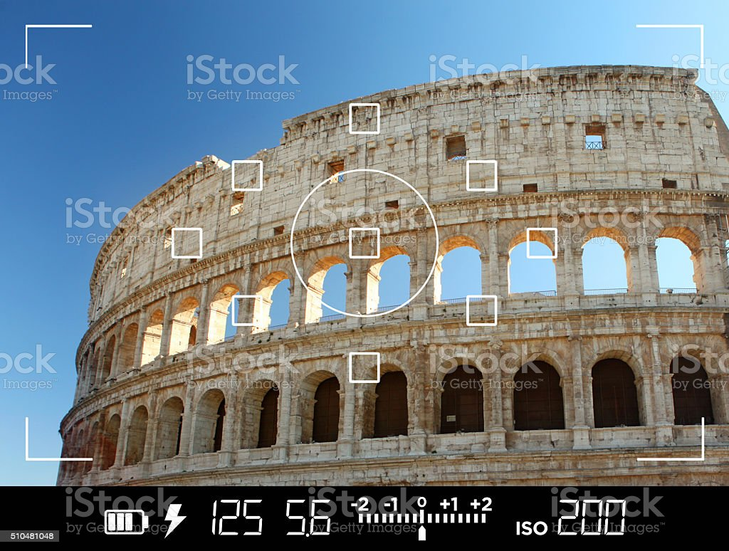 View through camera viewfinder, photographing Colosseum in Rome stock photo