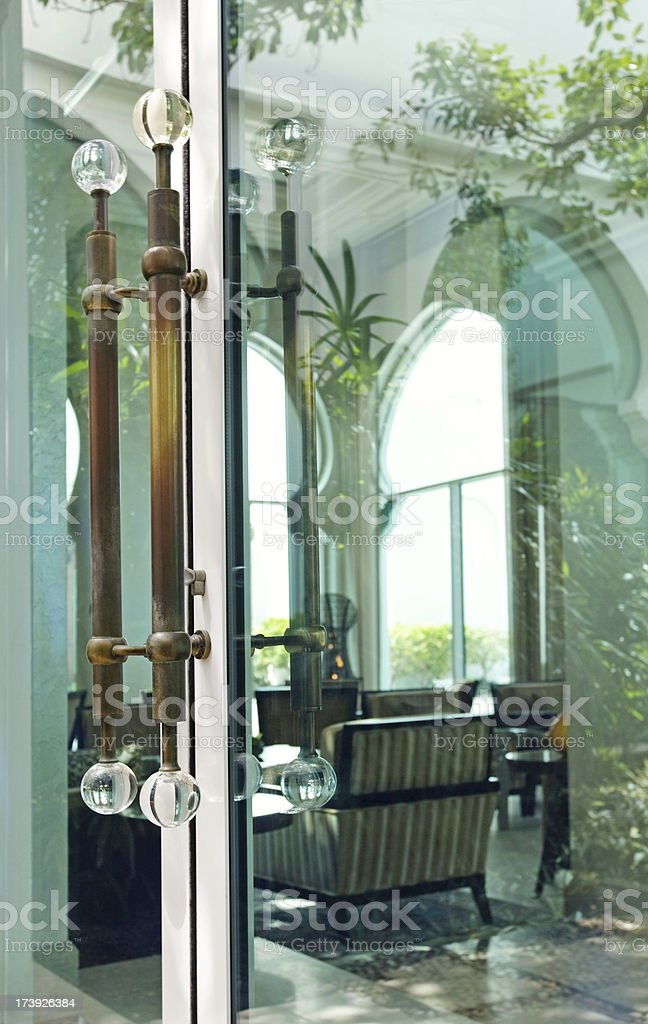 view through closed glass door royalty-free stock photo