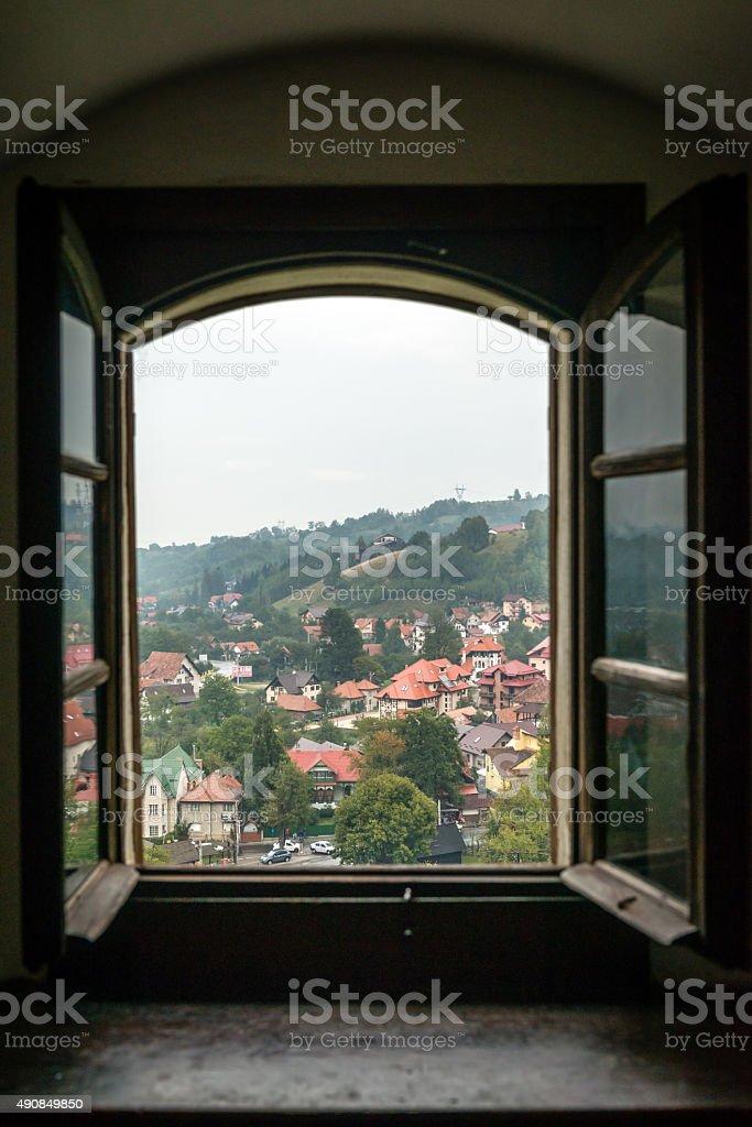 View through Drakula castle's window stock photo