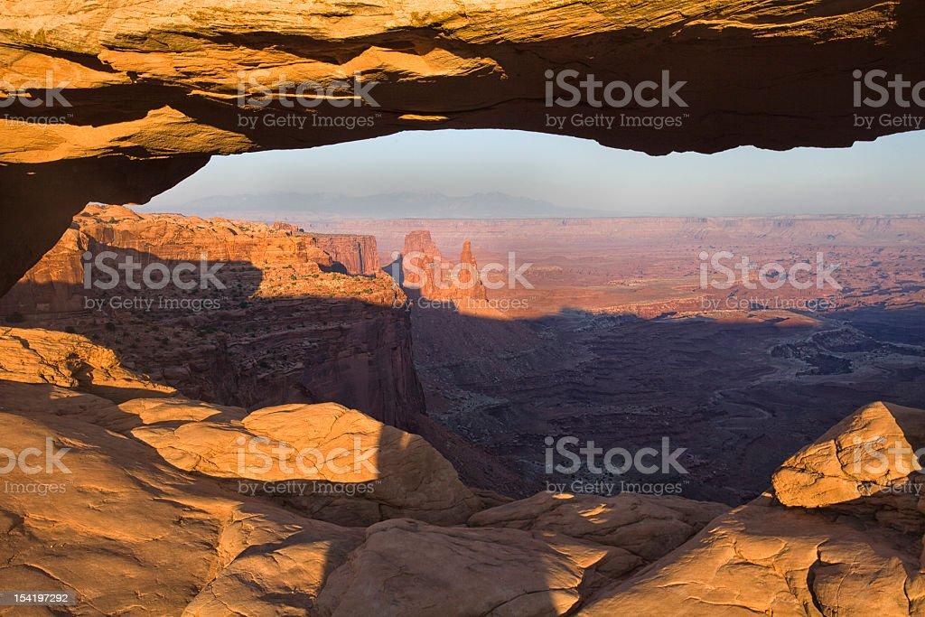 View through Mesa Arch stock photo