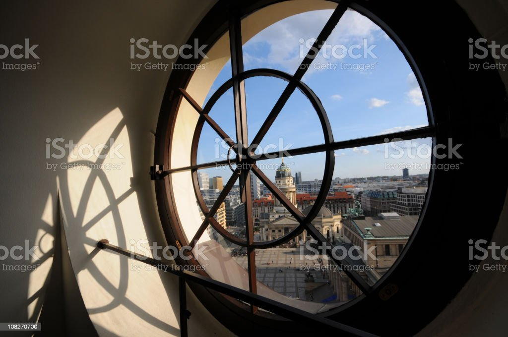 view through Porthole to German Cathedral at Gendarmenmarkt (Berlin) royalty-free stock photo