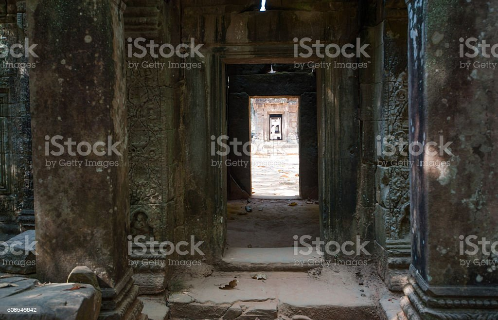 View through ruined temple entrance stock photo