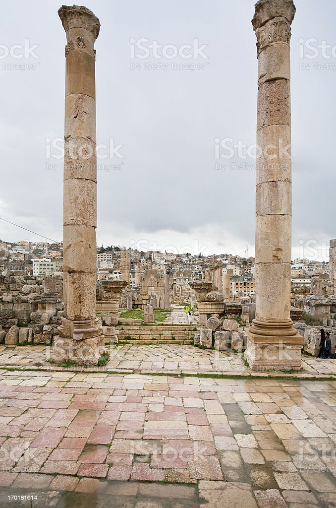 view through temple in ancient city  Gerasa to modern Jerash stock photo