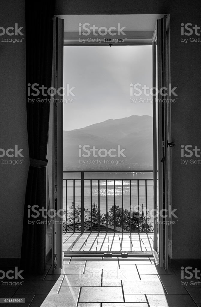 View through the open balcony door royalty-free stock photo