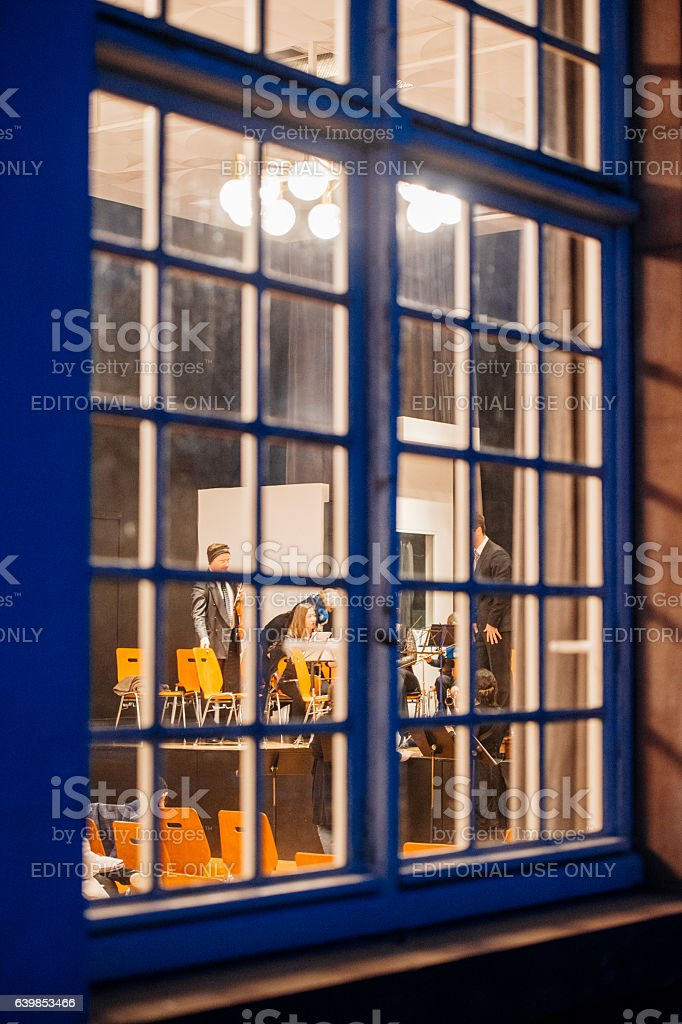 View through the window of a building stock photo