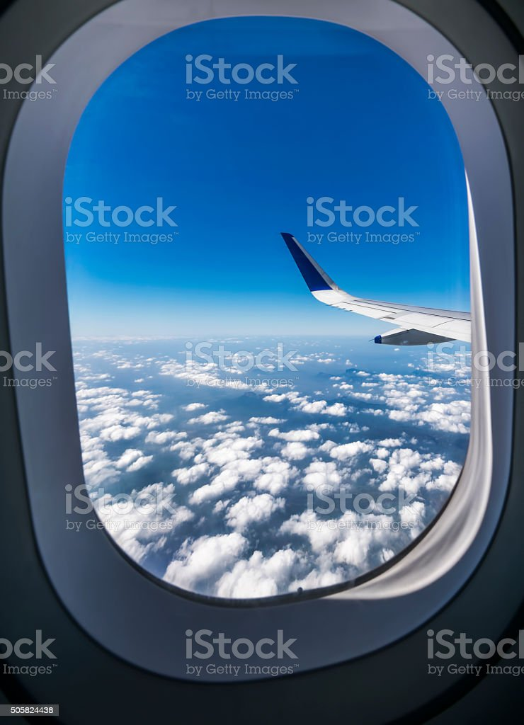 View through the window of a passenger plane stock photo
