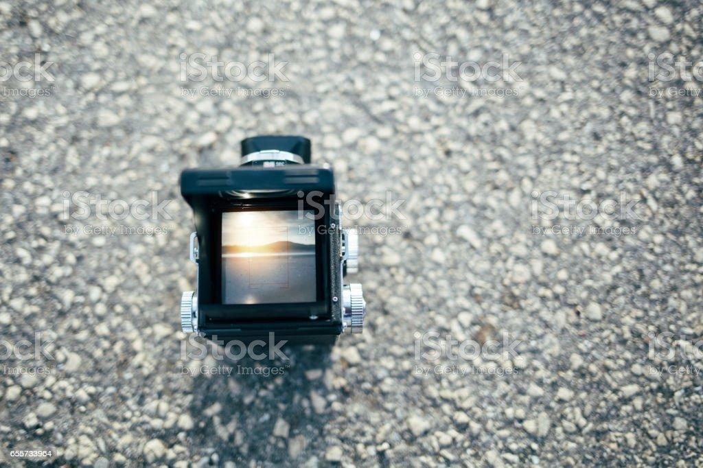 View through vintage camera viewfinder stock photo