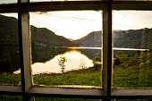 view through window in norwegian fjord