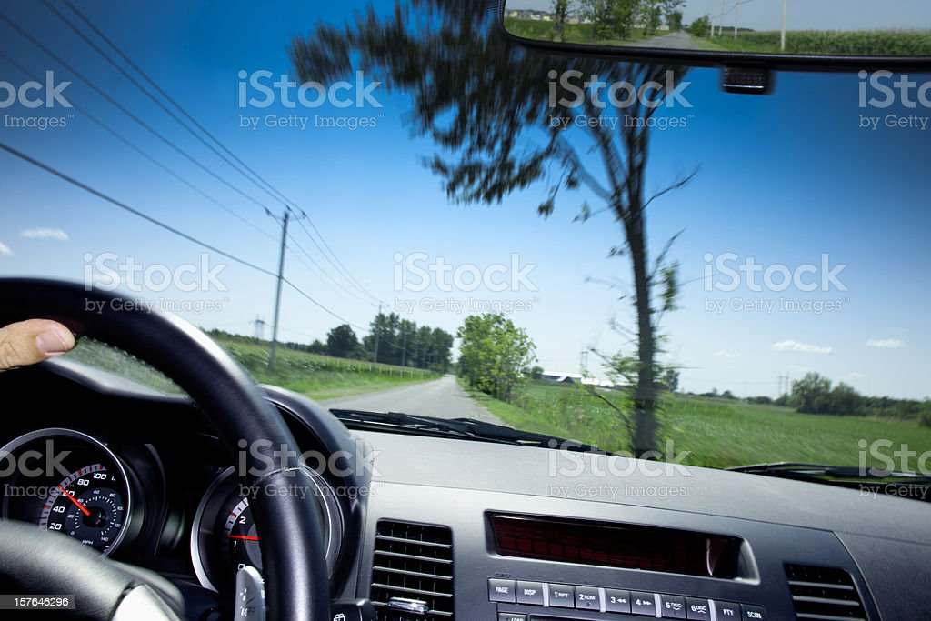 View through windshield of moving car stock photo