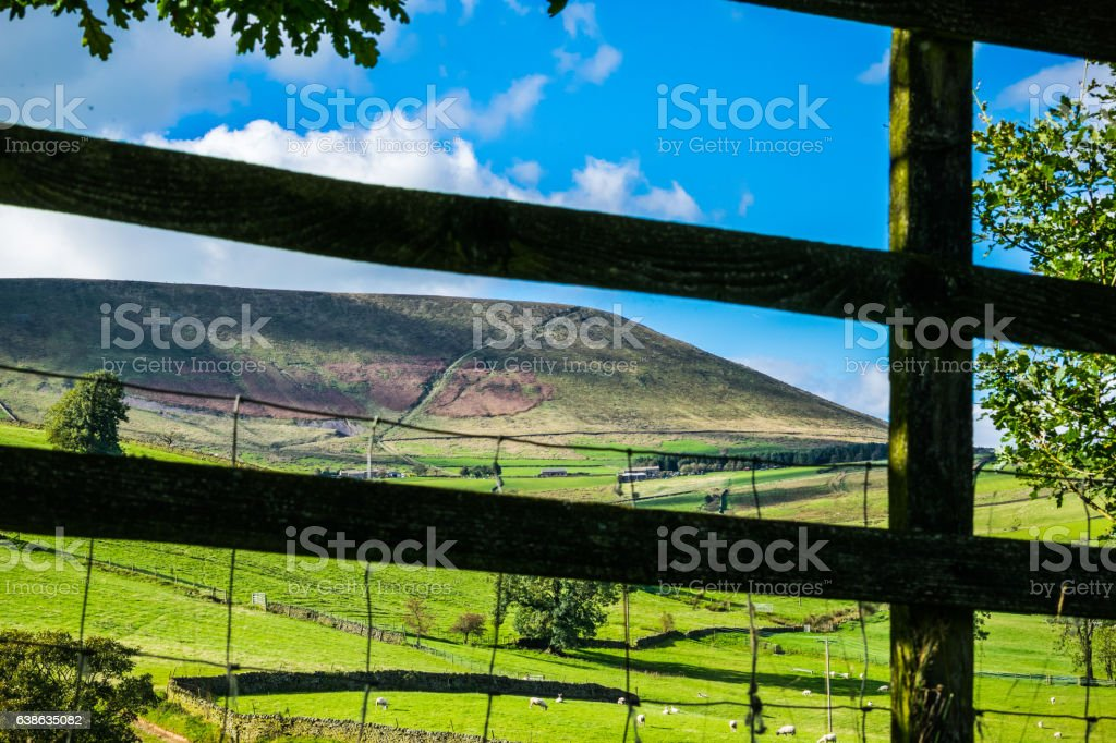 View Thru the fence on Pendle hill stock photo