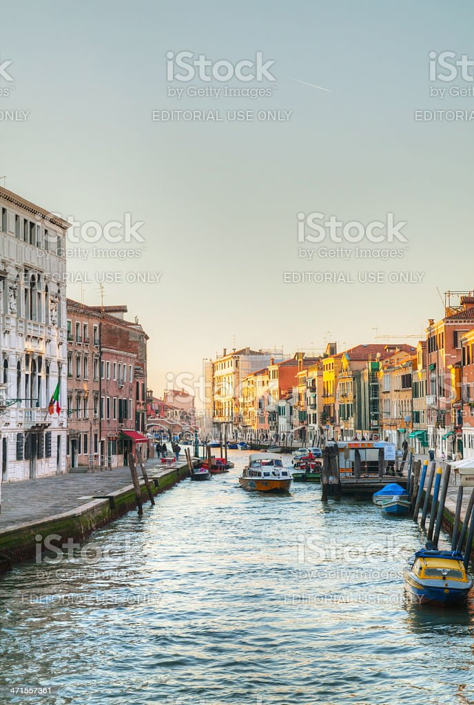 View to a canal from the bridge at sunset royalty-free stock photo