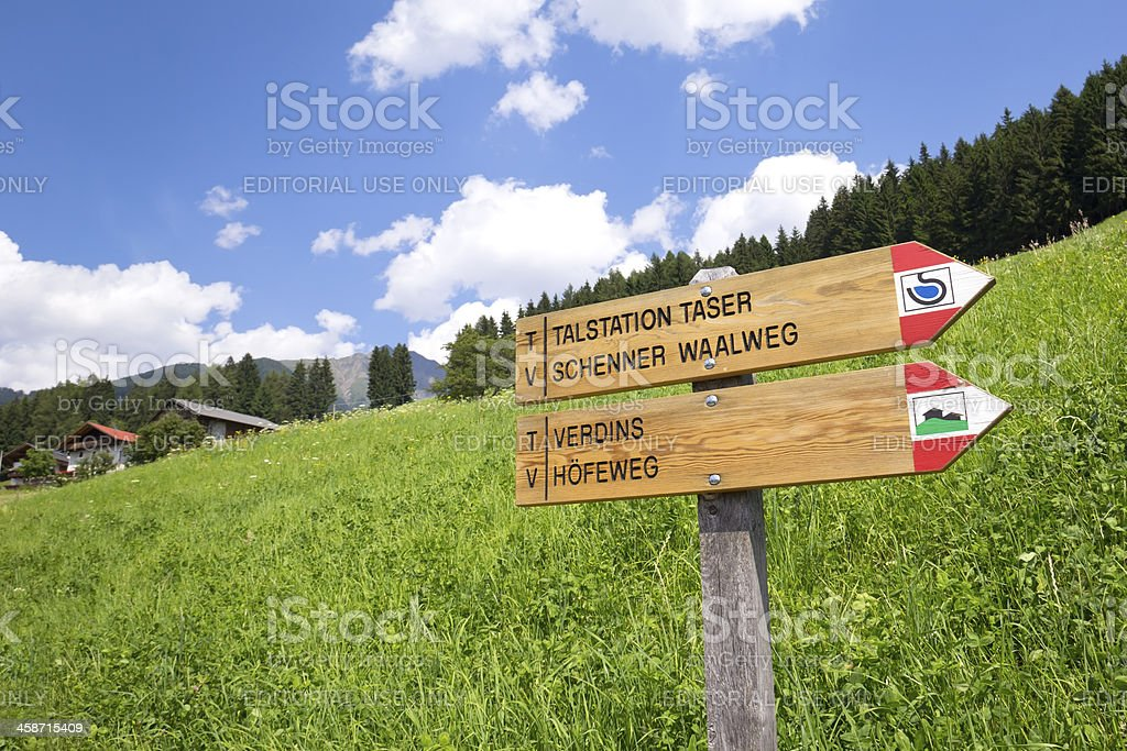 View to a signpost stock photo