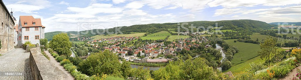 View to a village in Thuringia forest stock photo