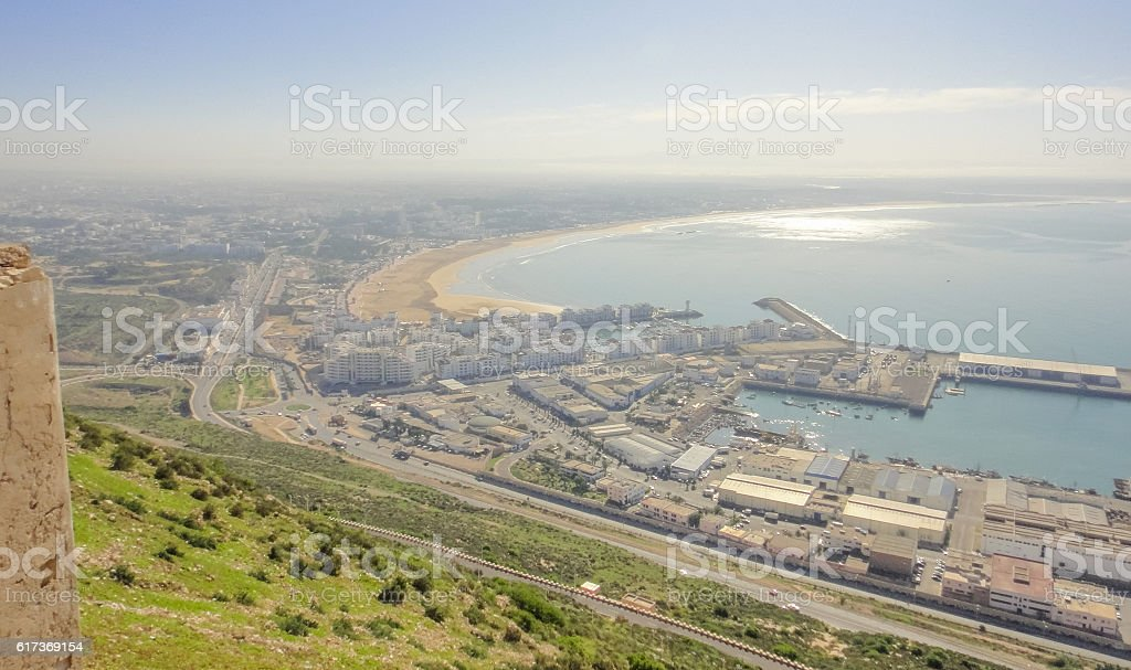 View to Agadir town from the mountain. Morocco. Northern Africa stock photo