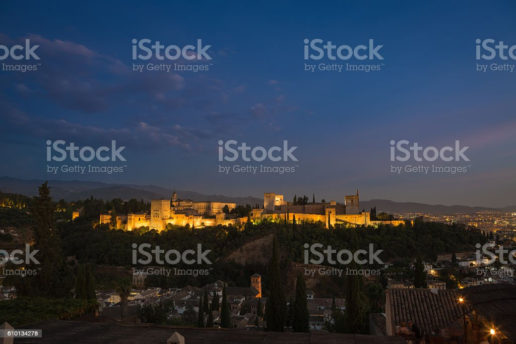 View to Alhambra during blue hour, Granada, Andalusia, Spain stock photo