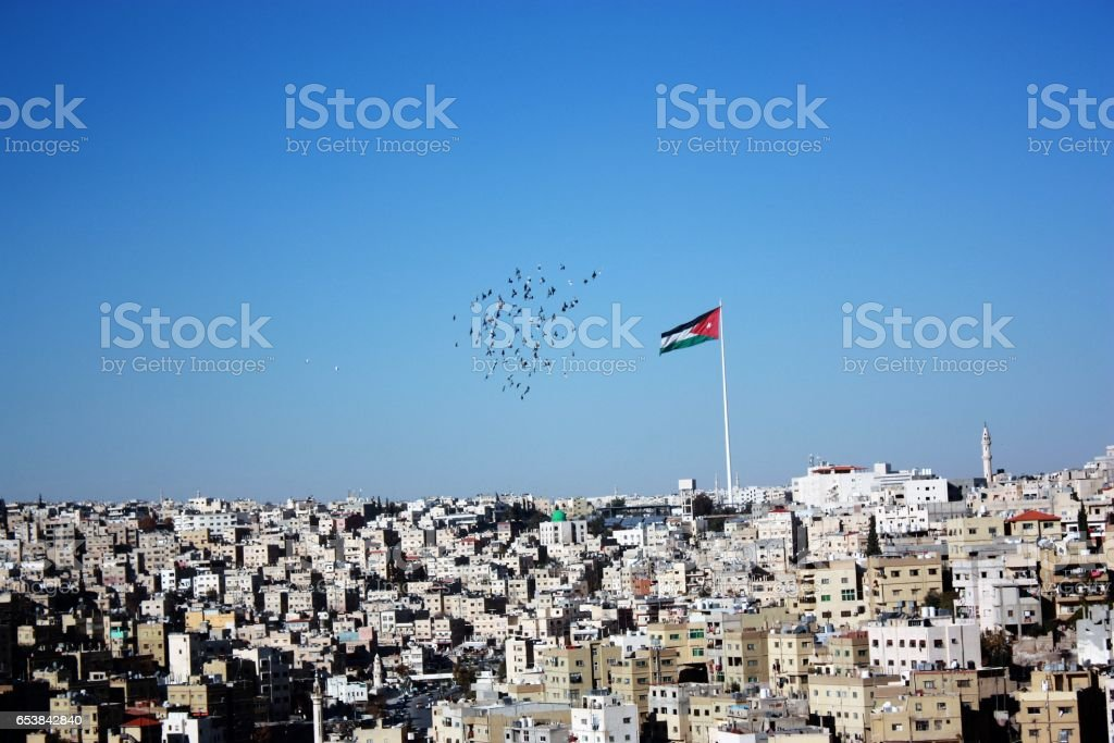 View to Amman city from Citadel Hill, Jordan Middle East stock photo