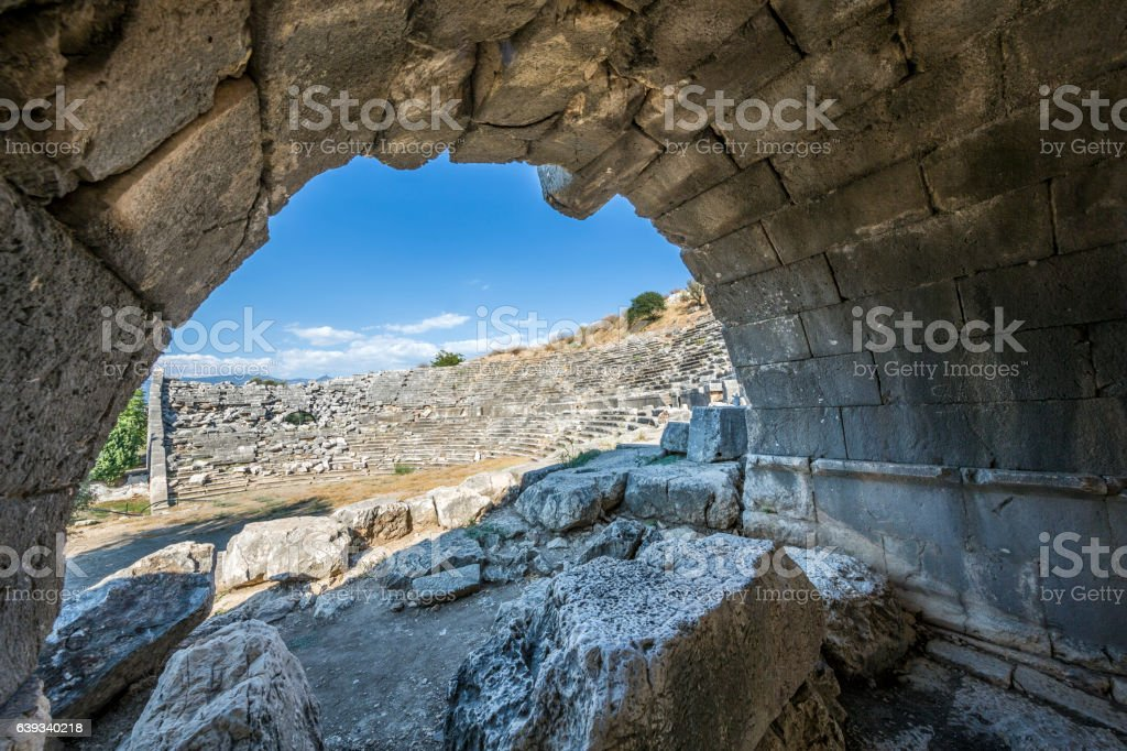 View to amphitheater of Letoon ancient city in Mugla stock photo
