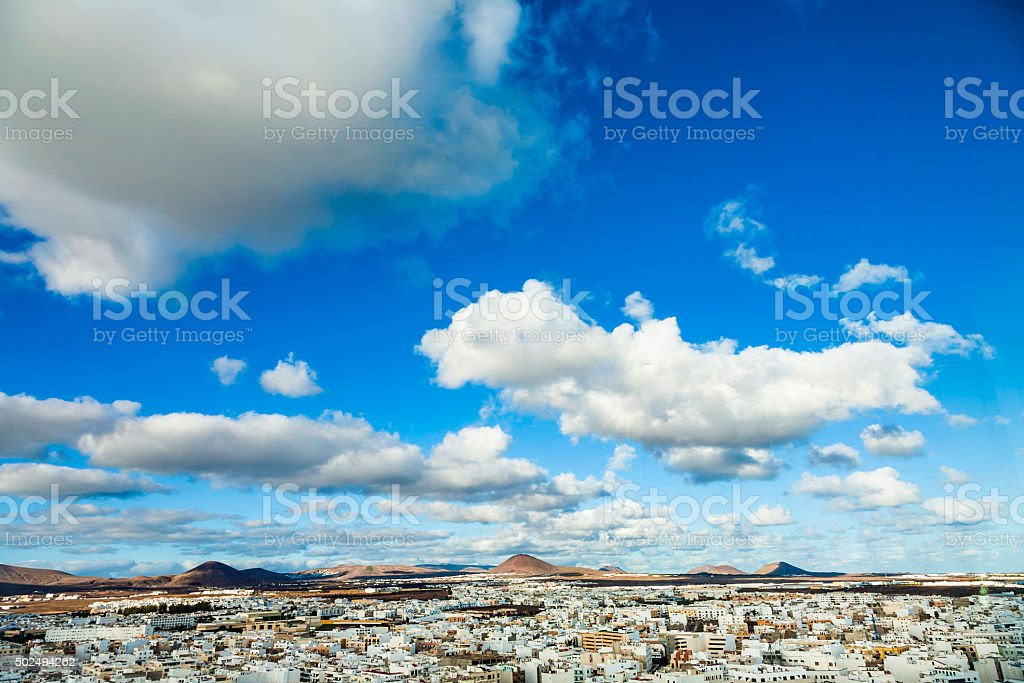 view to Arrecife and the volcanos of Lanzarote stock photo