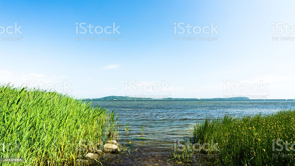 view to baltic sea and island vilm stock photo