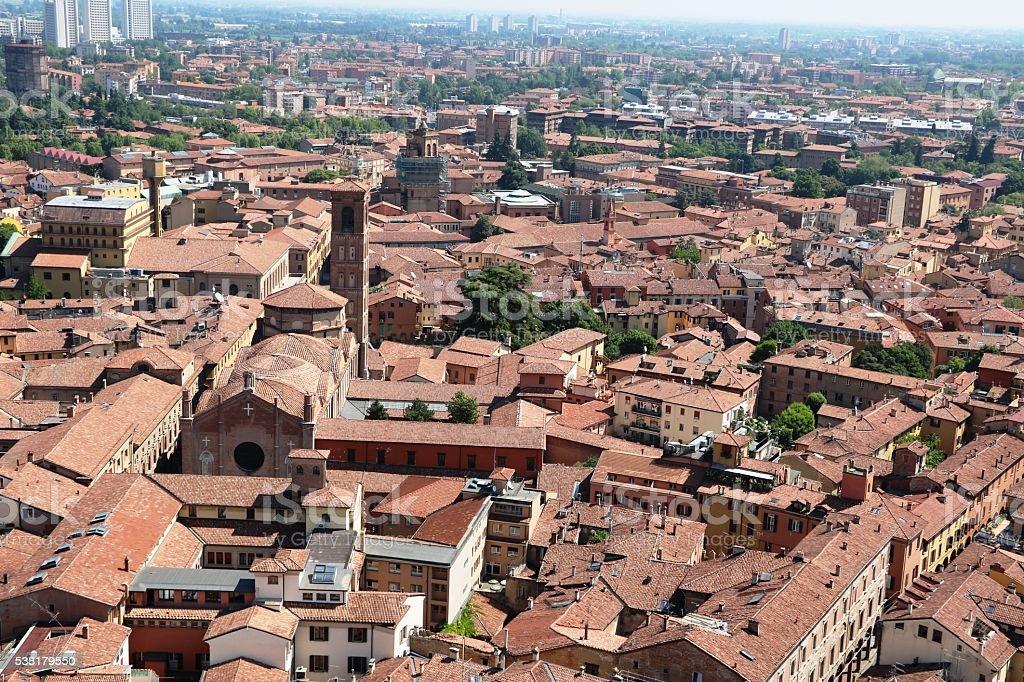 View to Basilica di San Giacomo Maggiore in Bologna, Italy stock photo