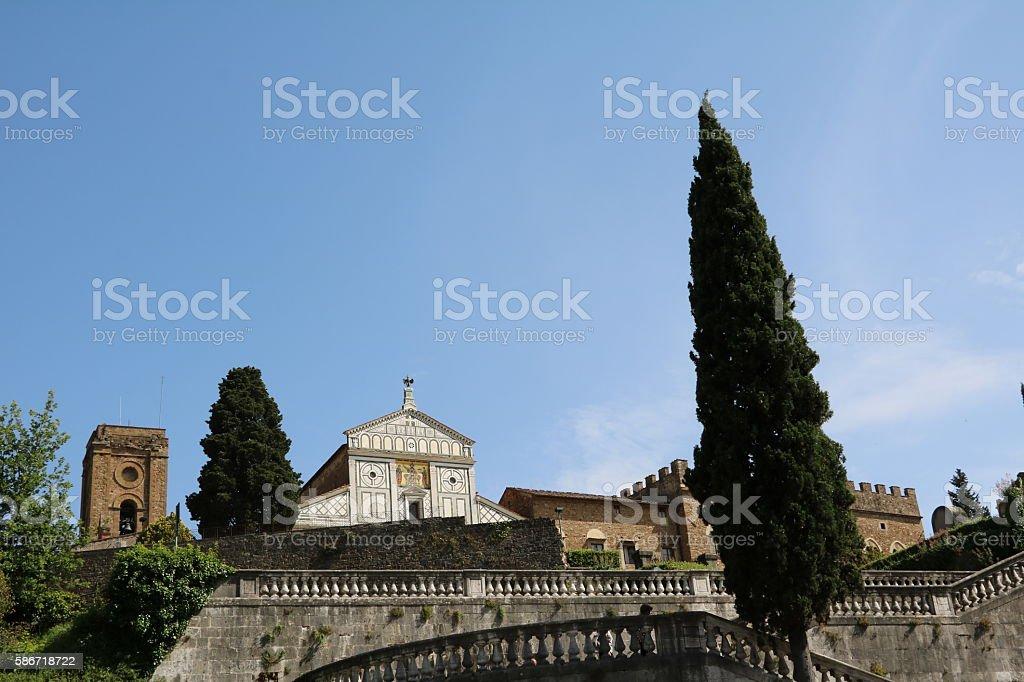 View to Basilica San Miniato al Monte, Florence Italy stock photo