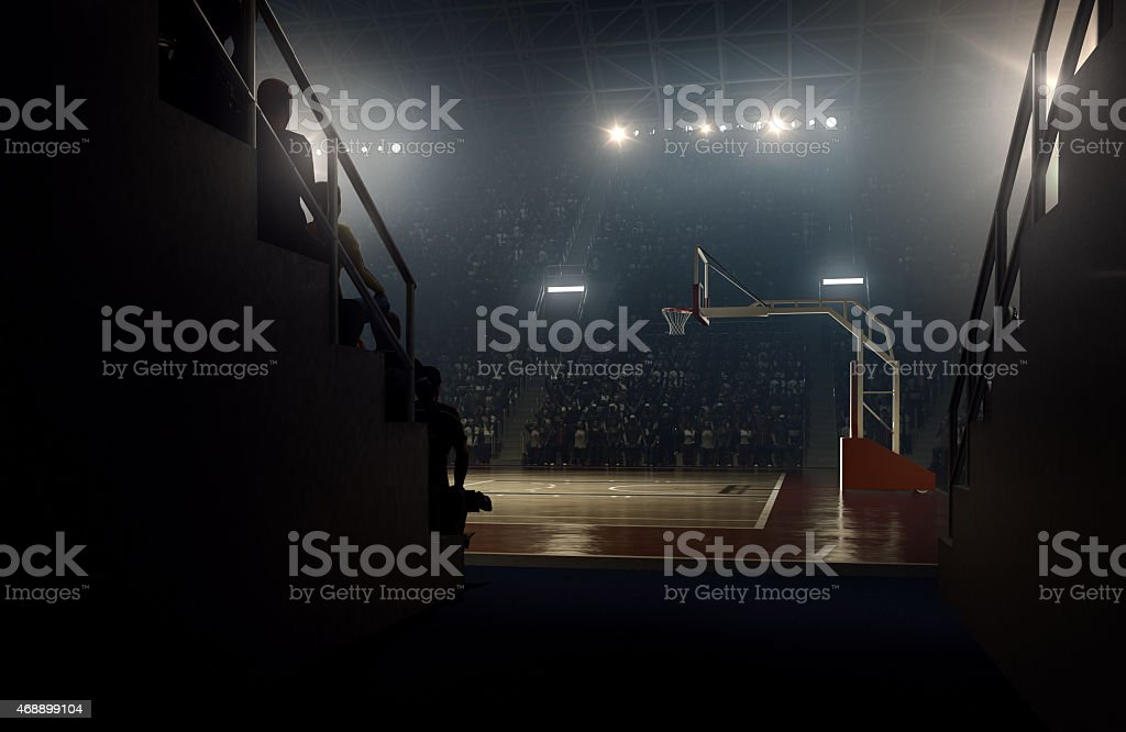 View to basketball stadium from players zone vector art illustration