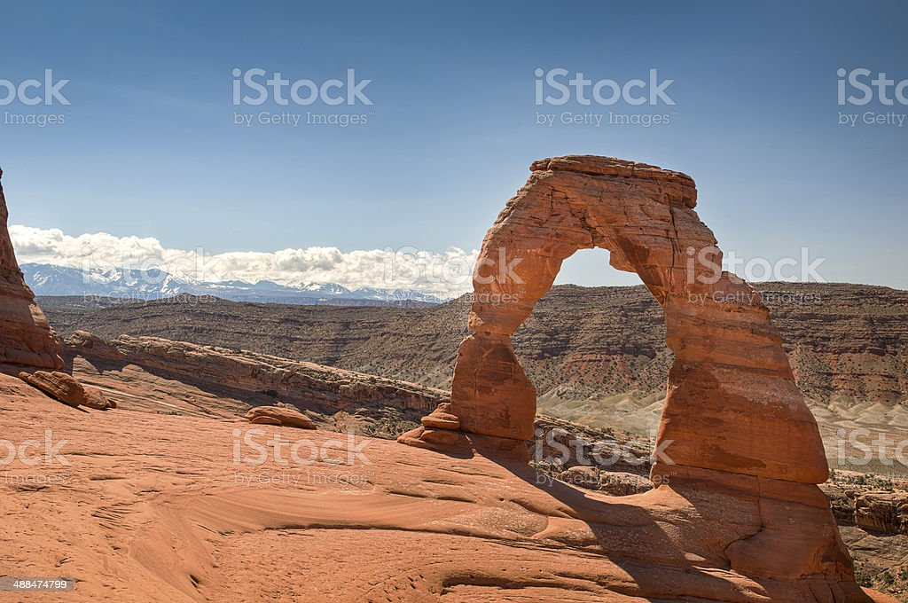 view to beautiful arches national park at summer stock photo