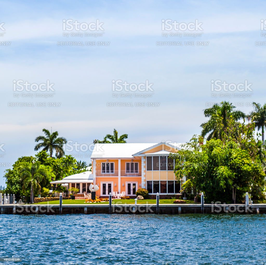 view to beautiful houses from the canal in Fort Lauderdale stock photo