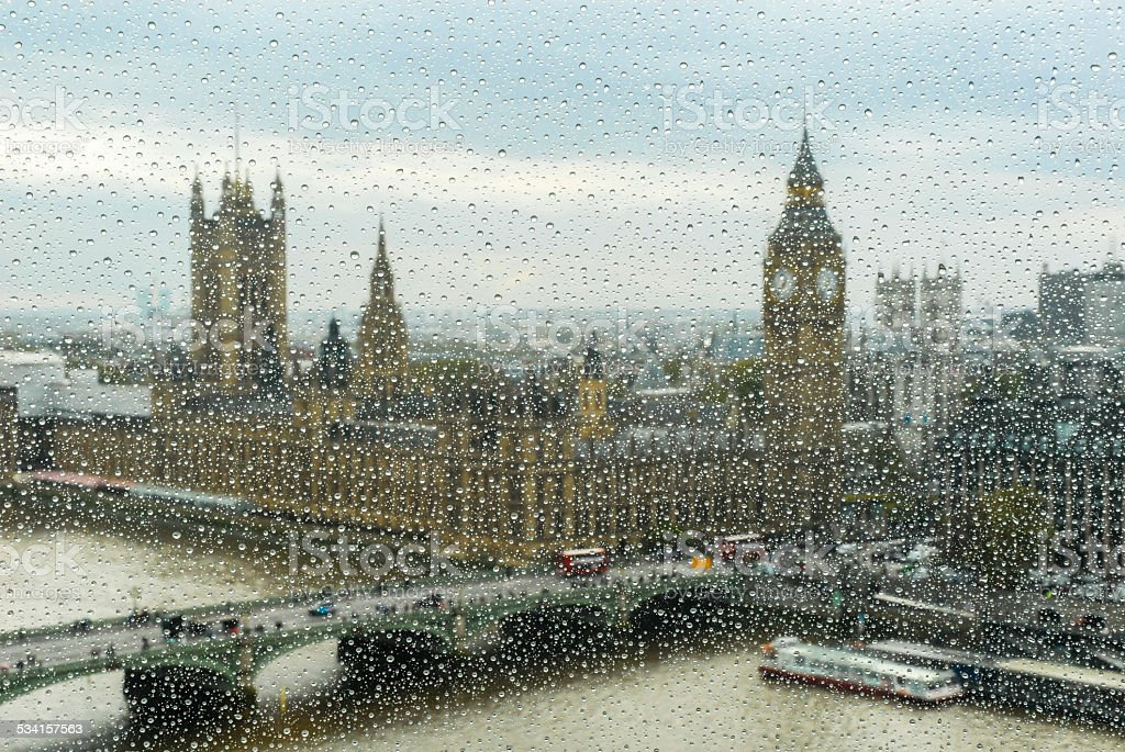 view to Big Ben and parliament through the wet window stock photo