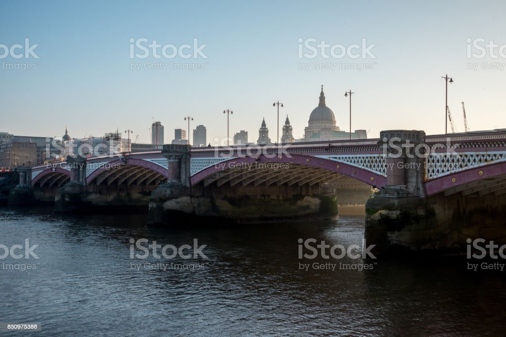 A view to Blackfriars Bridge and St Paul's Cathedral early in the morning, London, England stock photo