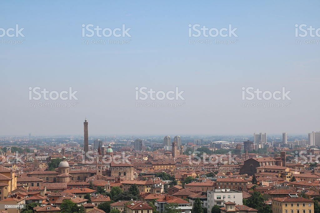 View to Bologna from San Michele In Bosco, Italy stock photo