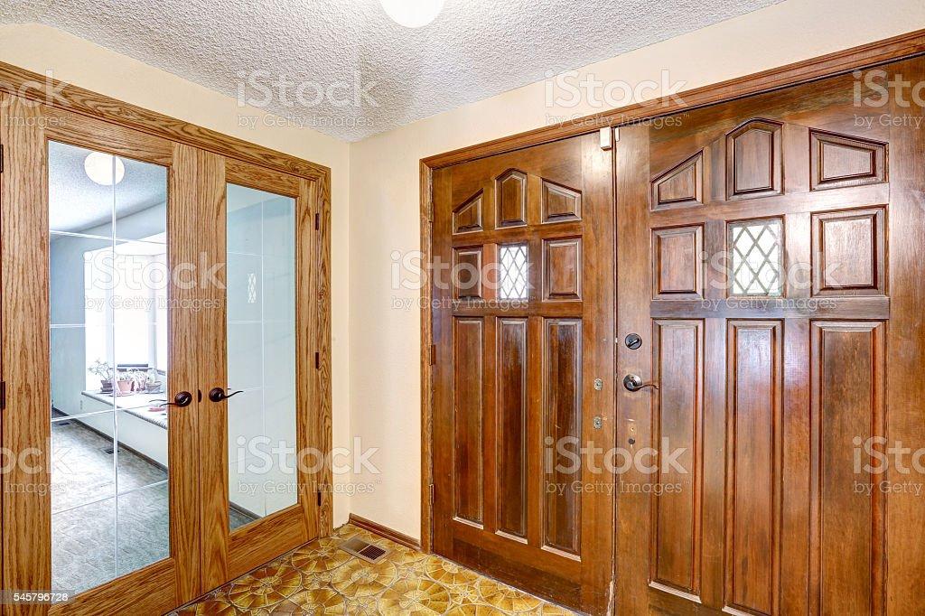 View to brown wooden enterance door. stock photo