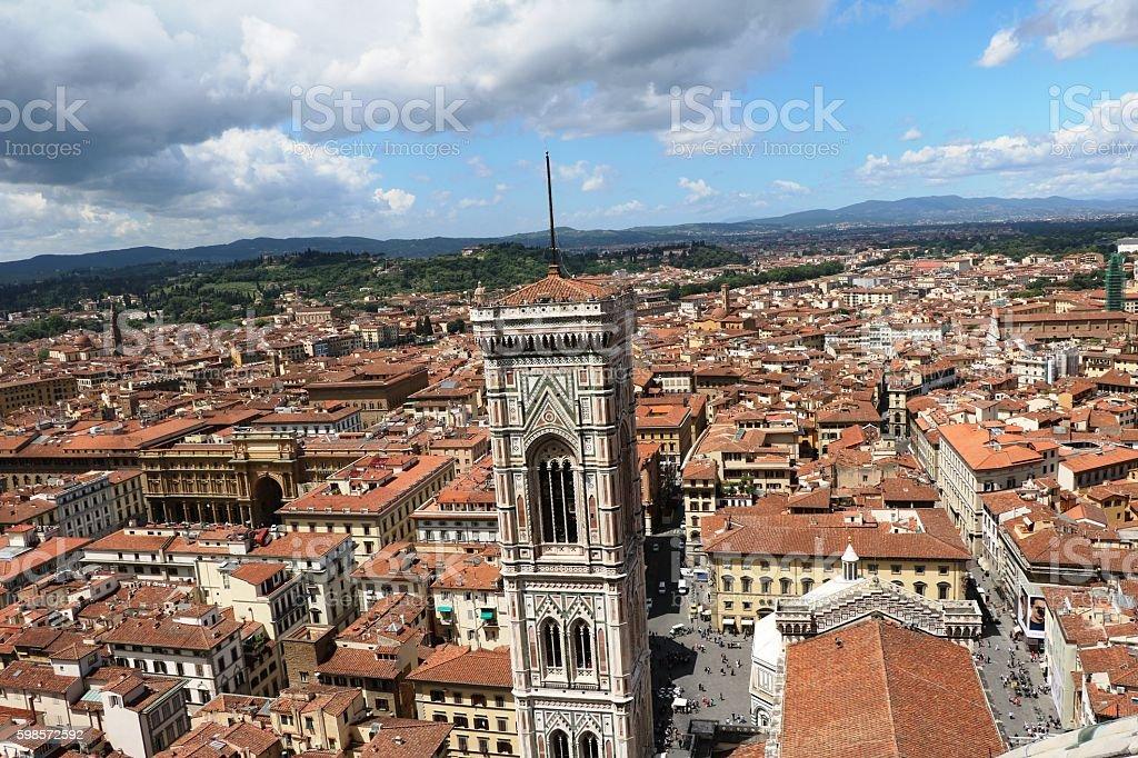View to Campanile Giotto and  Piazza della Republica, Florence Italy stock photo