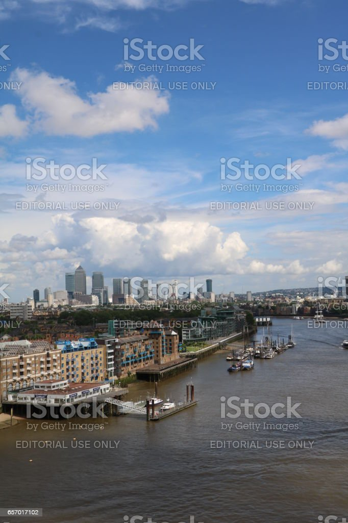 View to Canary Wharf  from Tower Bridge in London, United Kingdom stock photo