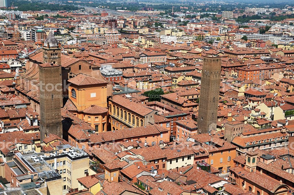 View to Cathedral San Pietro from Tower Asinelli Bologna, Italy stock photo