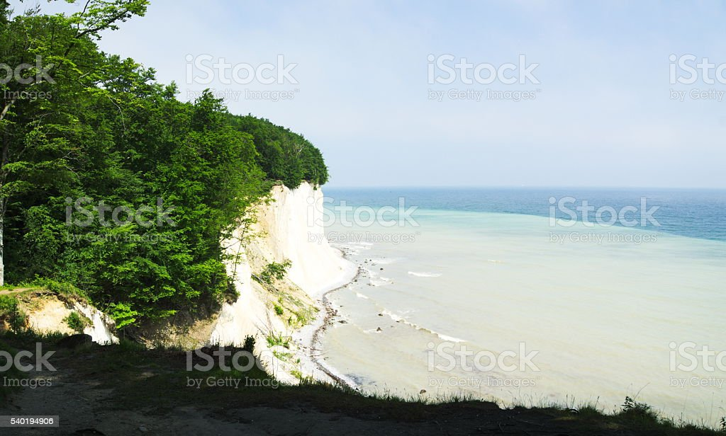 view to chalk cliff  on island Ruegen and baltic sea stock photo