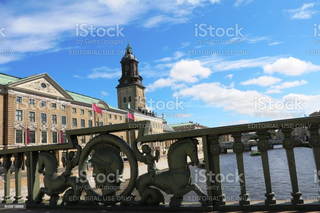 View to Christinae Kyrka at big harbor canal, Gothenburg Sweden stock photo