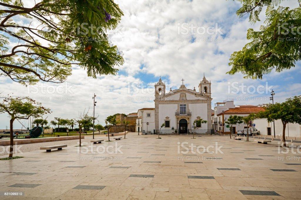 View to church Igreja de Santo Antonio in the old town of the historic centre of Lagos, Algarve Portugal stock photo