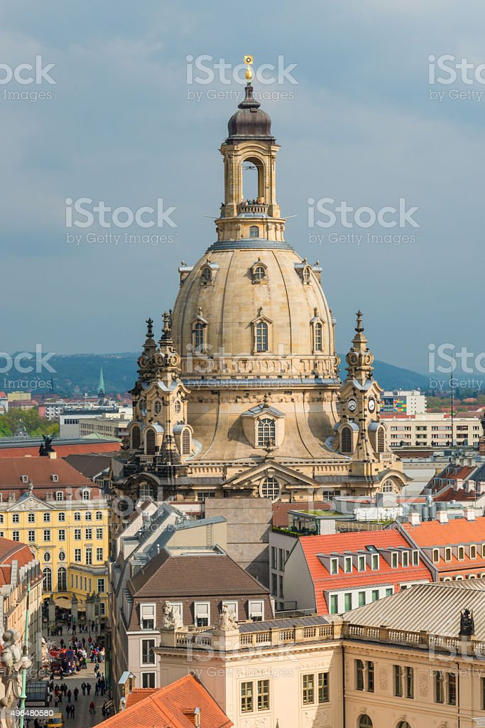 view to church of our Lady- Frauenkirche in Dresden Saxony stock photo